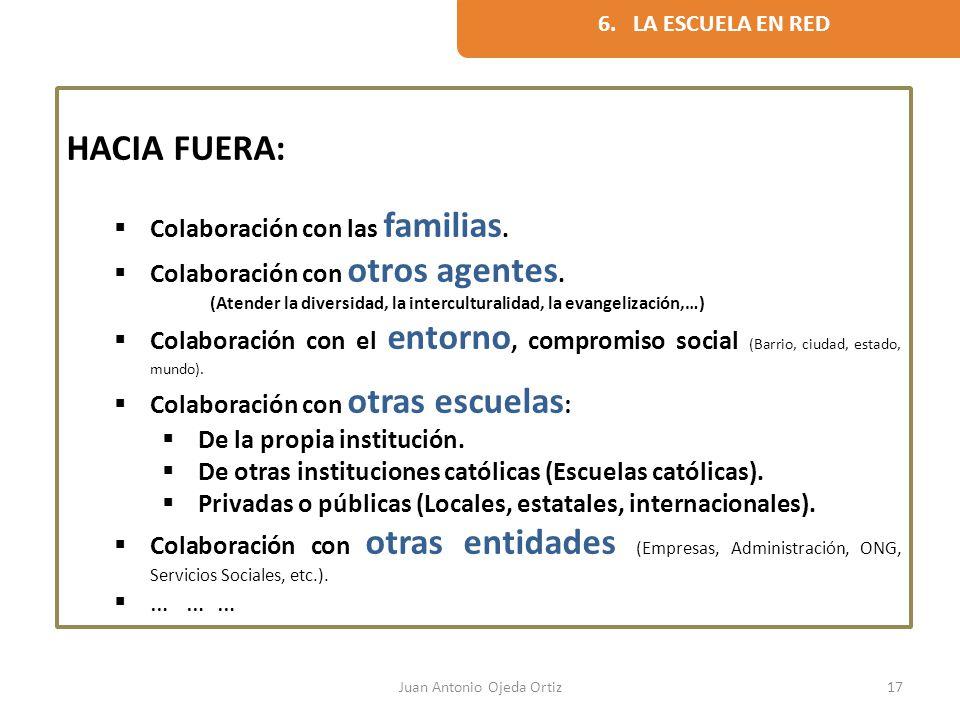 Juan Antonio Ojeda Ortiz17 HACIA FUERA: Colaboración con las familias. Colaboración con otros agentes. (Atender la diversidad, la interculturalidad, l