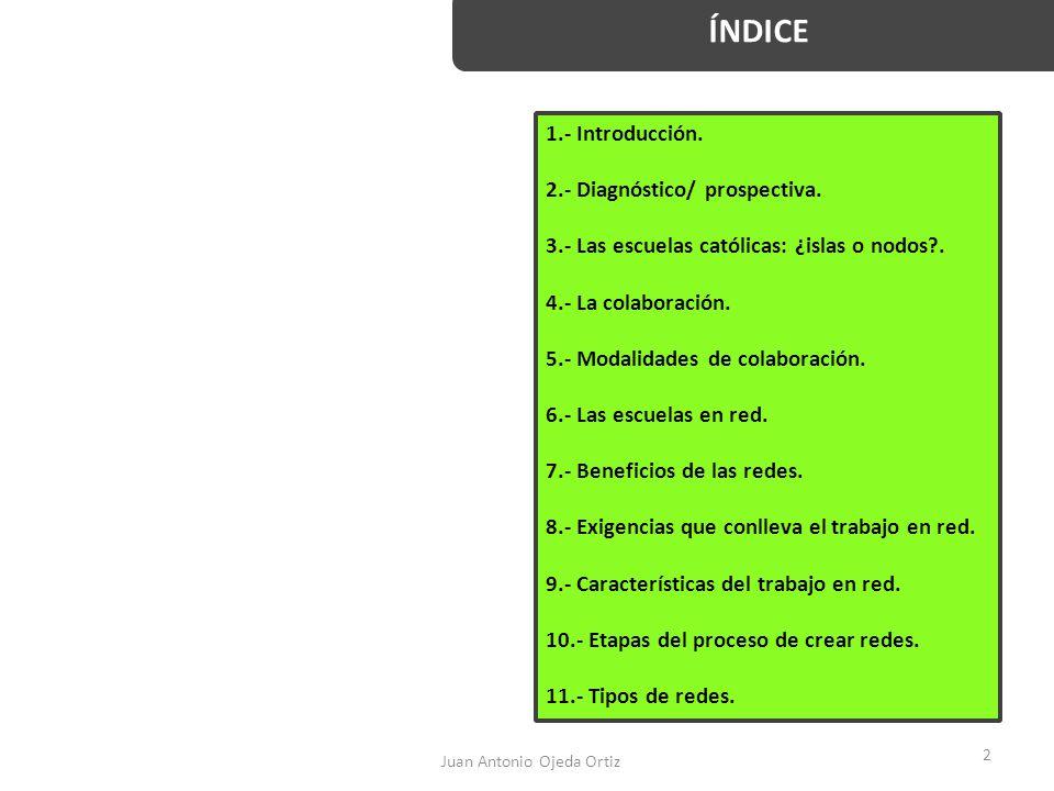 Juan Antonio Ojeda Ortiz 2 ÍNDICE 1.- Introducción. 2.- Diagnóstico/ prospectiva. 3.- Las escuelas católicas: ¿islas o nodos?. 4.- La colaboración. 5.