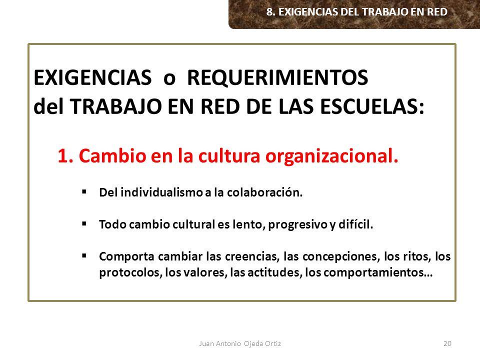 Juan Antonio Ojeda Ortiz20 8. EXIGENCIAS DEL TRABAJO EN RED EXIGENCIAS o REQUERIMIENTOS del TRABAJO EN RED DE LAS ESCUELAS: 1. Cambio en la cultura or