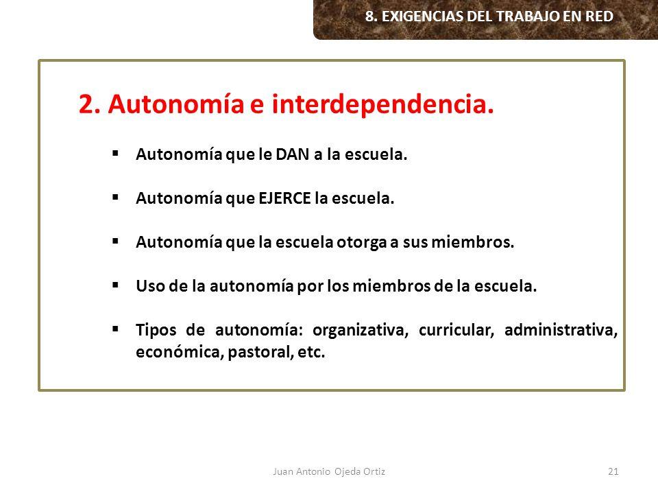 Juan Antonio Ojeda Ortiz21 2. Autonomía e interdependencia. Autonomía que le DAN a la escuela. Autonomía que EJERCE la escuela. Autonomía que la escue