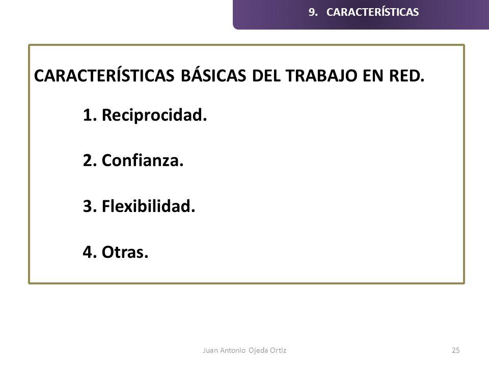 Juan Antonio Ojeda Ortiz25 CARACTERÍSTICAS BÁSICAS DEL TRABAJO EN RED. 1. Reciprocidad. 2. Confianza. 3. Flexibilidad. 4. Otras. 9. CARACTERÍSTICAS