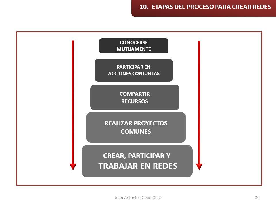 Juan Antonio Ojeda Ortiz30 10. ETAPAS DEL PROCESO PARA CREAR REDES CONOCERSE MUTUAMENTE PARTICIPAR EN ACCIONES CONJUNTAS COMPARTIR RECURSOS REALIZAR P