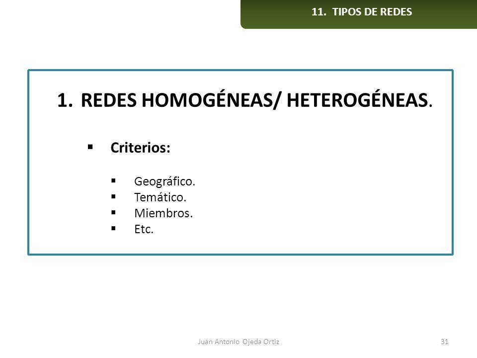Juan Antonio Ojeda Ortiz31 1.REDES HOMOGÉNEAS/ HETEROGÉNEAS. Criterios: Geográfico. Temático. Miembros. Etc. 11. TIPOS DE REDES