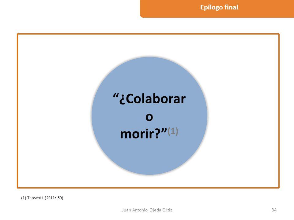 Juan Antonio Ojeda Ortiz34 Epílogo final ¿Colaborar o morir? (1) (1) Tapscott (2011: 59)