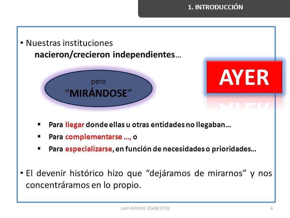 Juan Antonio Ojeda Ortiz4 Nuestras instituciones nacieron/crecieron independientes… Para llegar donde ellas u otras entidades no llegaban… Para comple