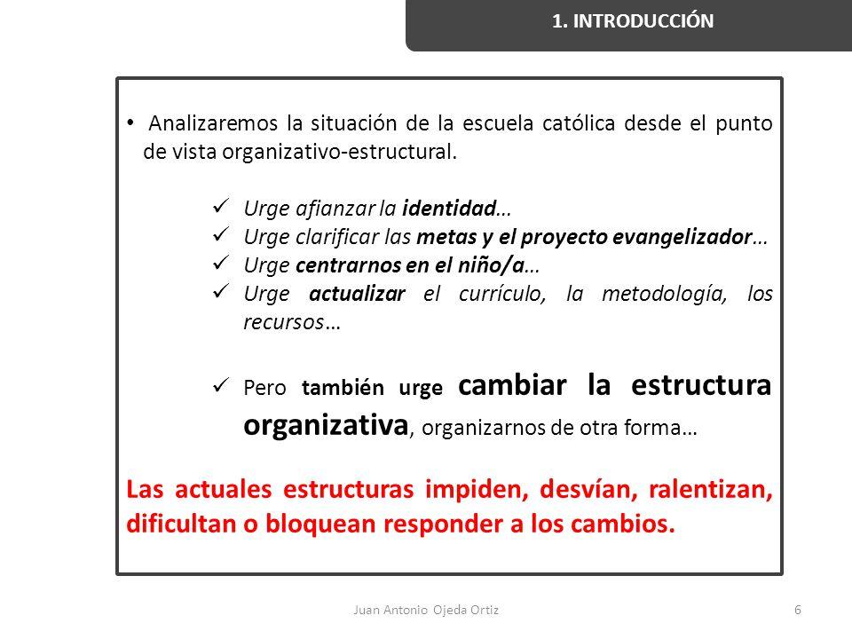 Juan Antonio Ojeda Ortiz6 1. INTRODUCCIÓN Analizaremos la situación de la escuela católica desde el punto de vista organizativo-estructural. Urge afia