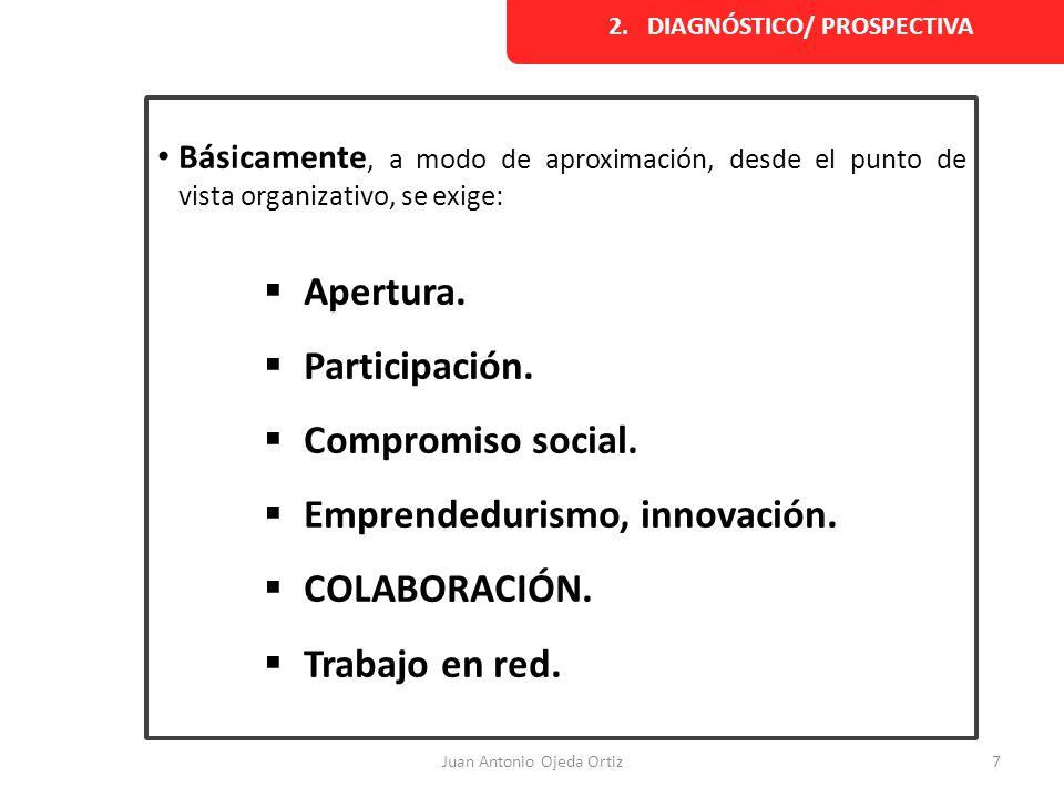 Juan Antonio Ojeda Ortiz7 2. DIAGNÓSTICO/ PROSPECTIVA Básicamente, a modo de aproximación, desde el punto de vista organizativo, se exige: Apertura. P