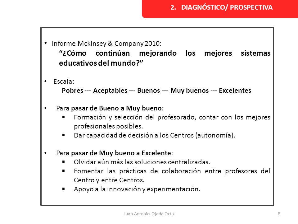 Juan Antonio Ojeda Ortiz8 Informe Mckinsey & Company 2010: ¿Cómo continúan mejorando los mejores sistemas educativos del mundo? Escala: Pobres --- Ace