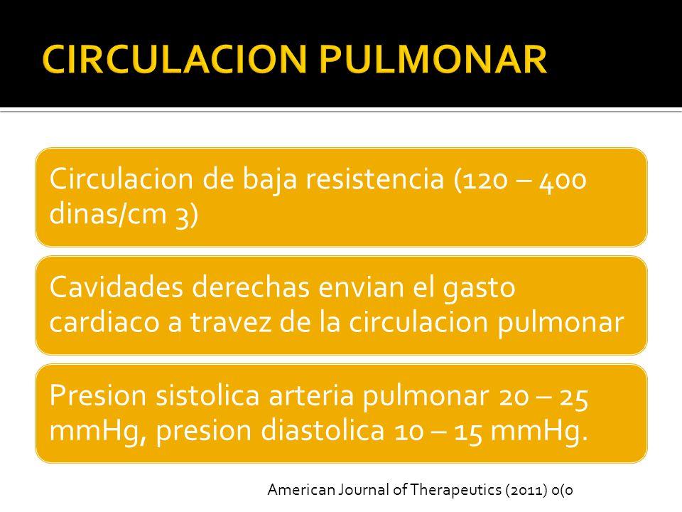 Circulacion de baja resistencia (120 – 400 dinas/cm 3) Cavidades derechas envian el gasto cardiaco a travez de la circulacion pulmonar Presion sistolica arteria pulmonar 20 – 25 mmHg, presion diastolica 10 – 15 mmHg.