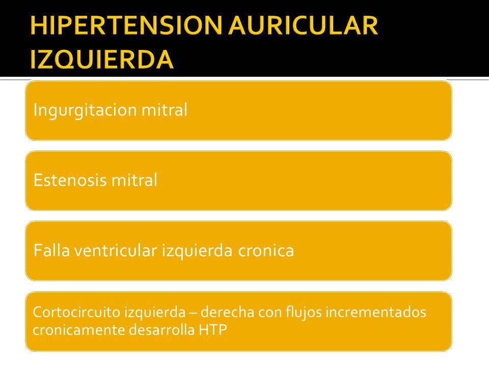 Ingurgitacion mitralEstenosis mitralFalla ventricular izquierda cronica Cortocircuito izquierda – derecha con flujos incrementados cronicamente desarrolla HTP
