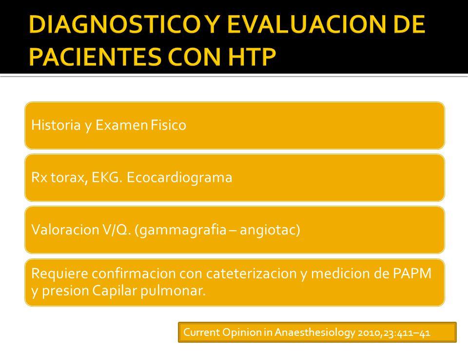 Historia y Examen FisicoRx torax, EKG.EcocardiogramaValoracion V/Q.