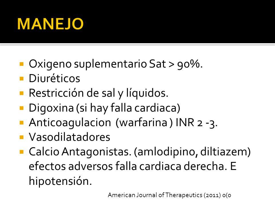 Oxigeno suplementario Sat > 90%.Diuréticos Restricción de sal y líquidos.