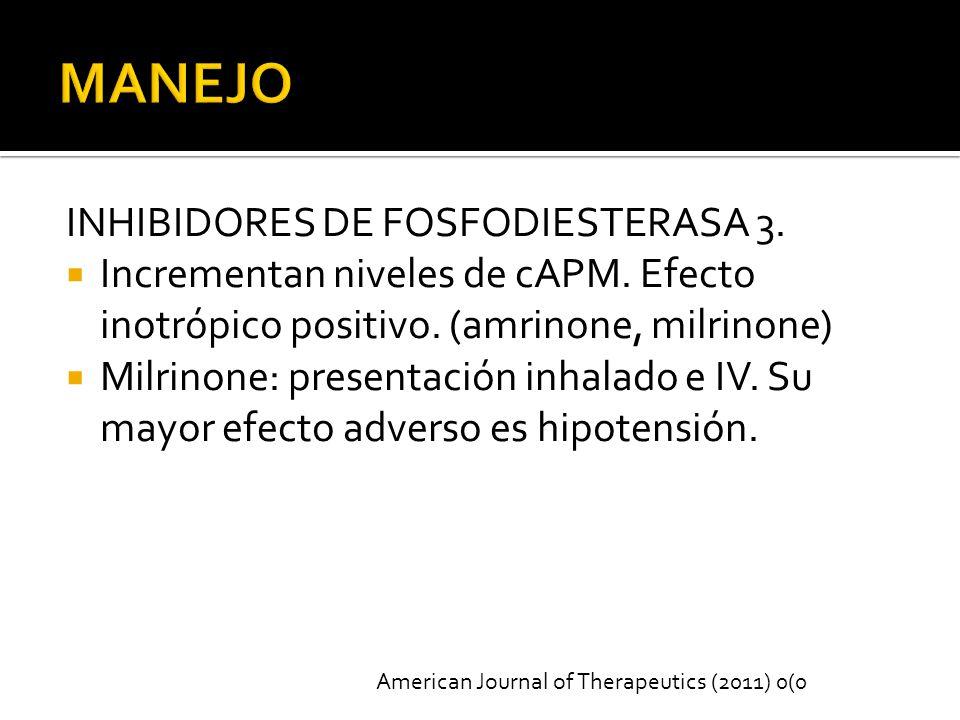 INHIBIDORES DE FOSFODIESTERASA 3.Incrementan niveles de cAPM.