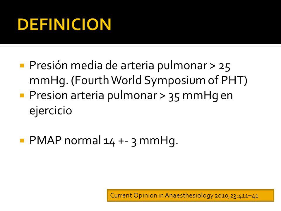 Presión media de arteria pulmonar > 25 mmHg.