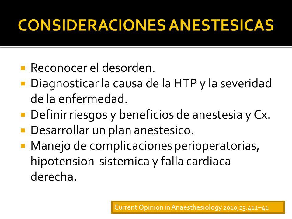 Reconocer el desorden.Diagnosticar la causa de la HTP y la severidad de la enfermedad.