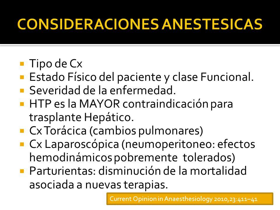 Tipo de Cx Estado Físico del paciente y clase Funcional.