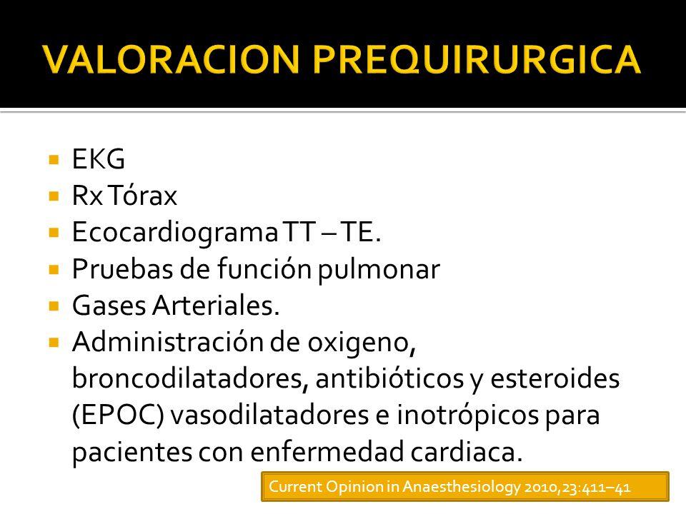 EKG Rx Tórax Ecocardiograma TT – TE.Pruebas de función pulmonar Gases Arteriales.