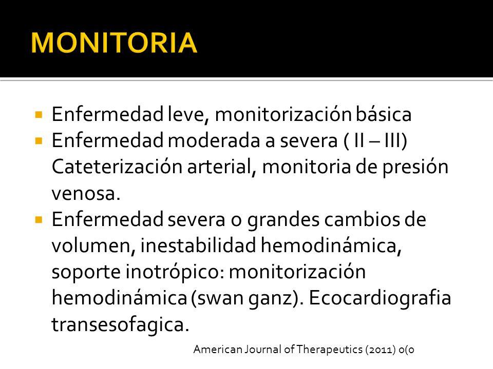 Enfermedad leve, monitorización básica Enfermedad moderada a severa ( II – III) Cateterización arterial, monitoria de presión venosa.