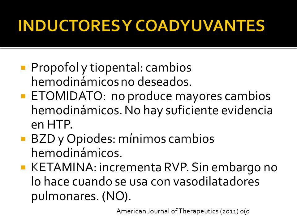 Propofol y tiopental: cambios hemodinámicos no deseados.