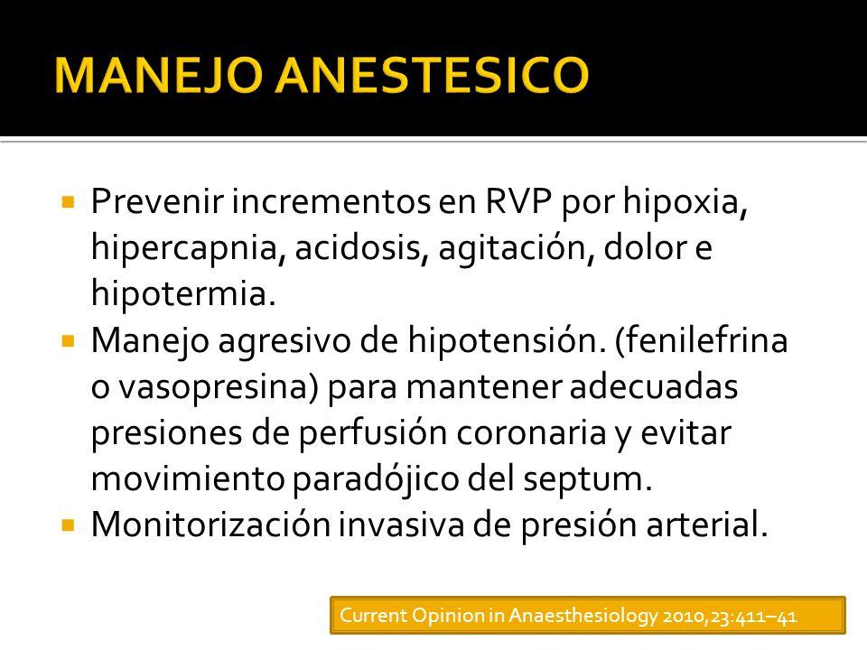 Prevenir incrementos en RVP por hipoxia, hipercapnia, acidosis, agitación, dolor e hipotermia.