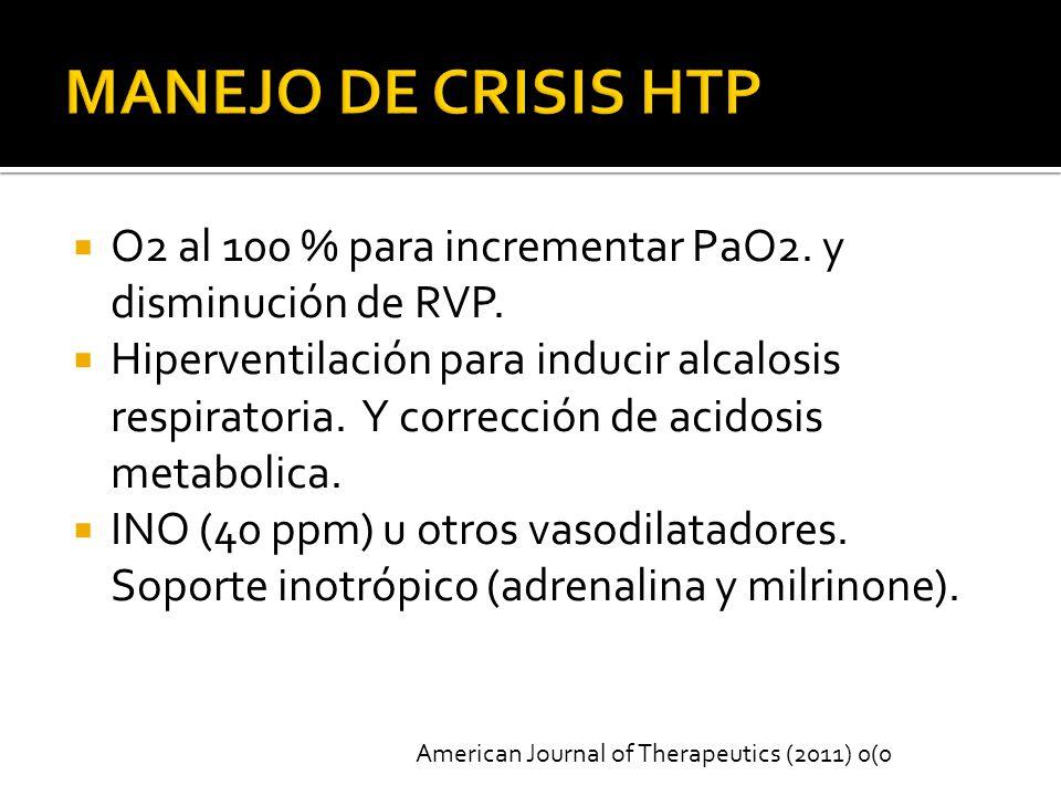 O2 al 100 % para incrementar PaO2.y disminución de RVP.