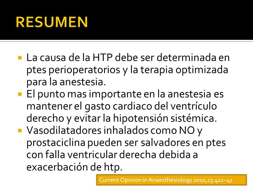 La causa de la HTP debe ser determinada en ptes perioperatorios y la terapia optimizada para la anestesia.