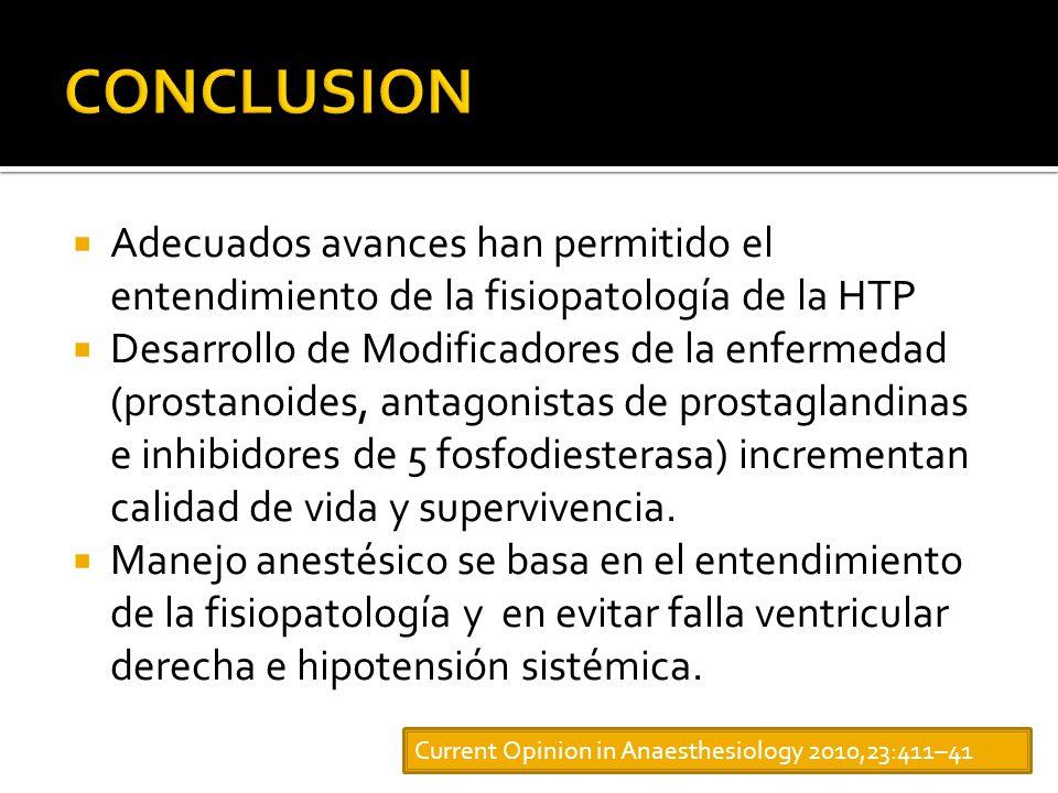 Adecuados avances han permitido el entendimiento de la fisiopatología de la HTP Desarrollo de Modificadores de la enfermedad (prostanoides, antagonistas de prostaglandinas e inhibidores de 5 fosfodiesterasa) incrementan calidad de vida y supervivencia.