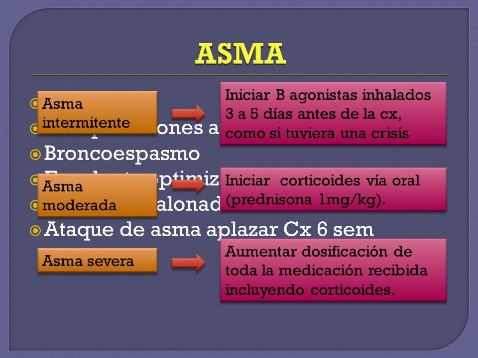 Común Complicaciones anestesia general Broncoespasmo Excelente optimización Manejo escalonado Ataque de asma aplazar Cx 6 sem Asma intermitente Inicia