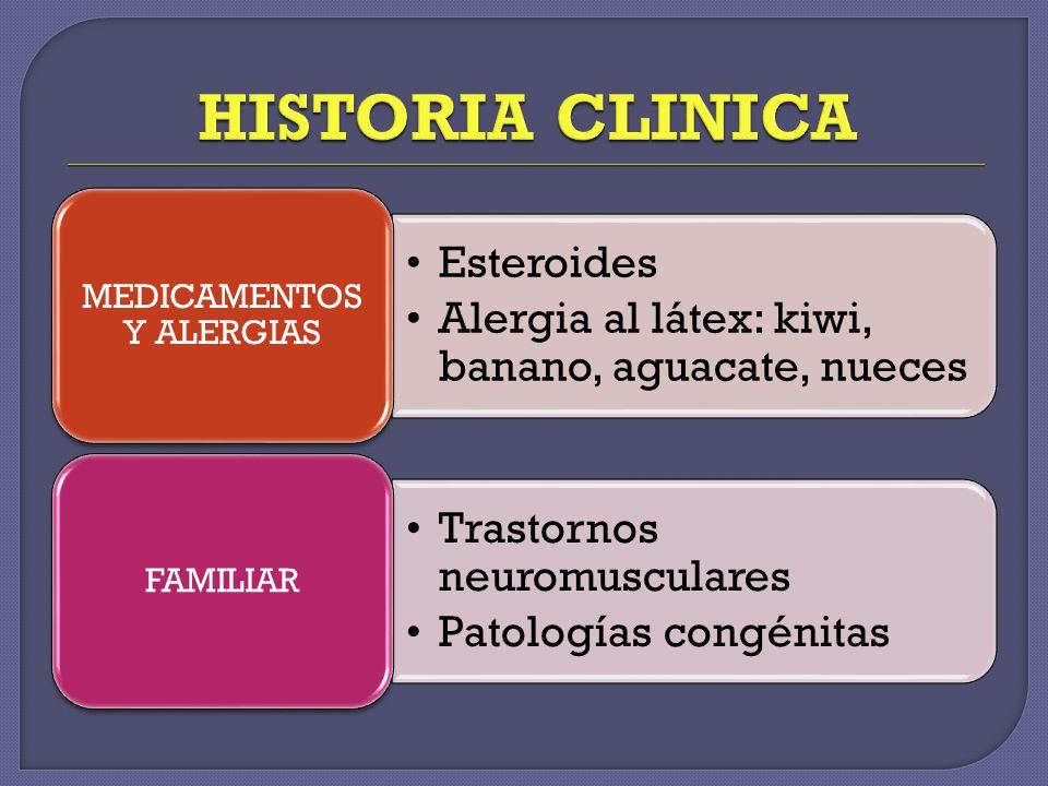 Esteroides Alergia al látex: kiwi, banano, aguacate, nueces MEDICAMENTOS Y ALERGIAS Trastornos neuromusculares Patologías congénitas FAMILIAR