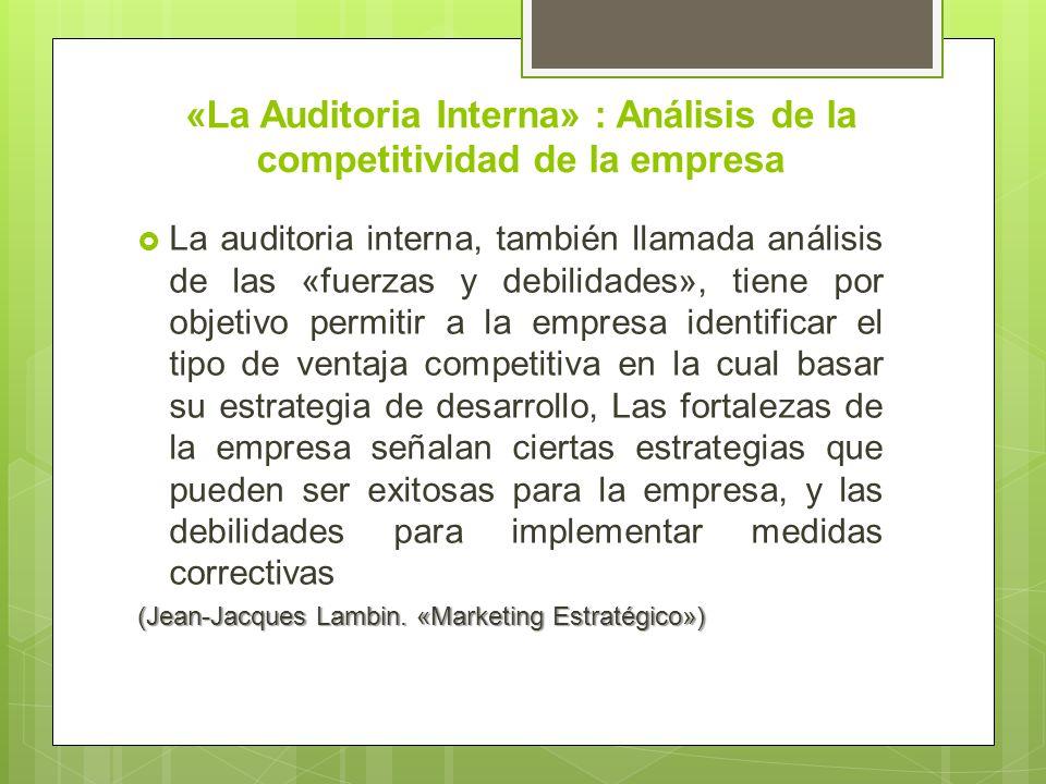 «La Auditoria Interna» : Análisis de la competitividad de la empresa La auditoria interna, también llamada análisis de las «fuerzas y debilidades», ti