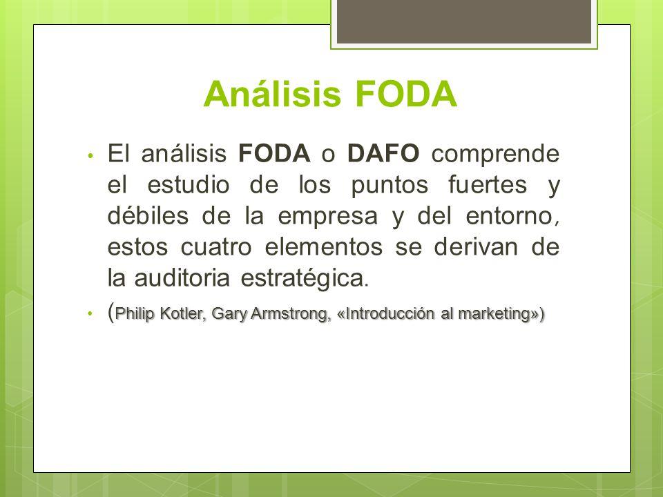 Análisis FODA El análisis FODA o DAFO comprende el estudio de los puntos fuertes y débiles de la empresa y del entorno, estos cuatro elementos se deri
