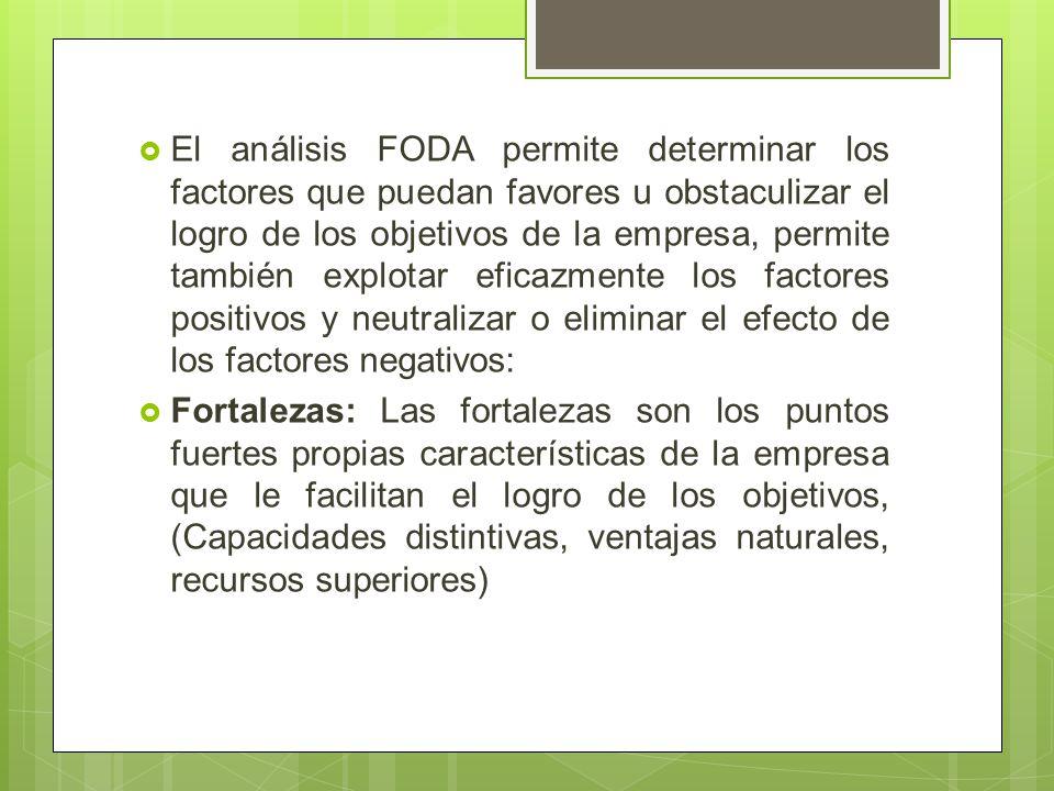 El análisis FODA permite determinar los factores que puedan favores u obstaculizar el logro de los objetivos de la empresa, permite también explotar e