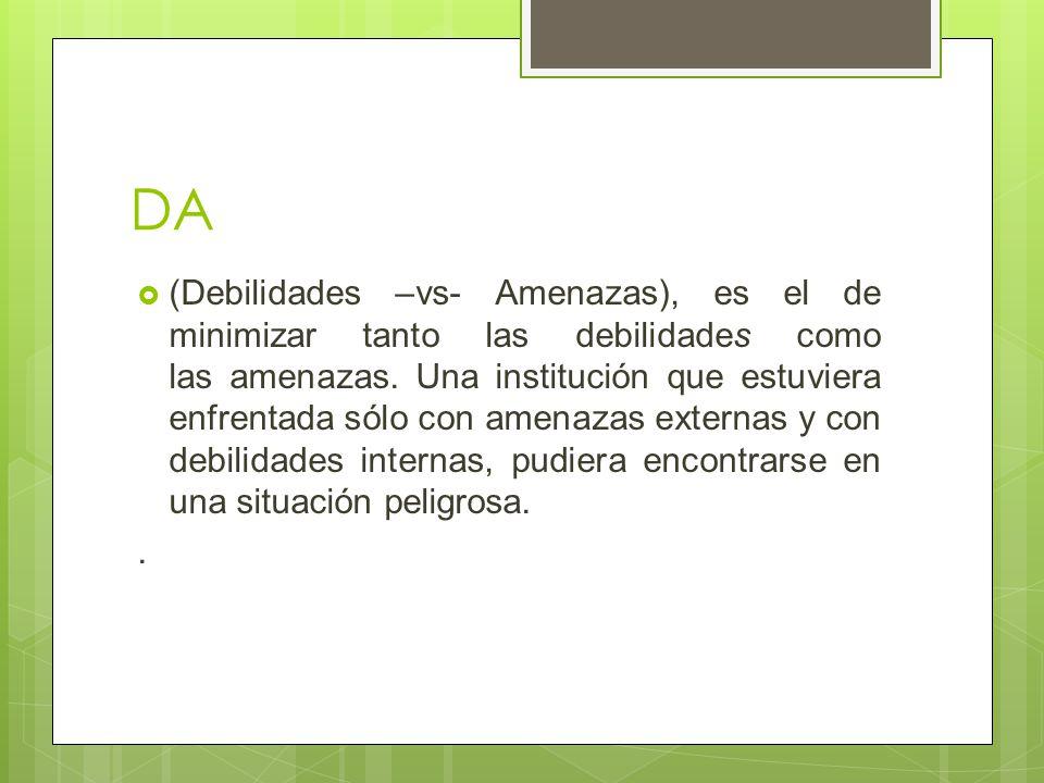 DA (Debilidades –vs- Amenazas), es el de minimizar tanto las debilidades como las amenazas. Una institución que estuviera enfrentada sólo con amenazas