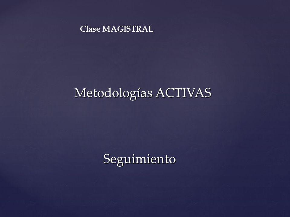 Clase MAGISTRAL Metodologías ACTIVAS Seguimiento