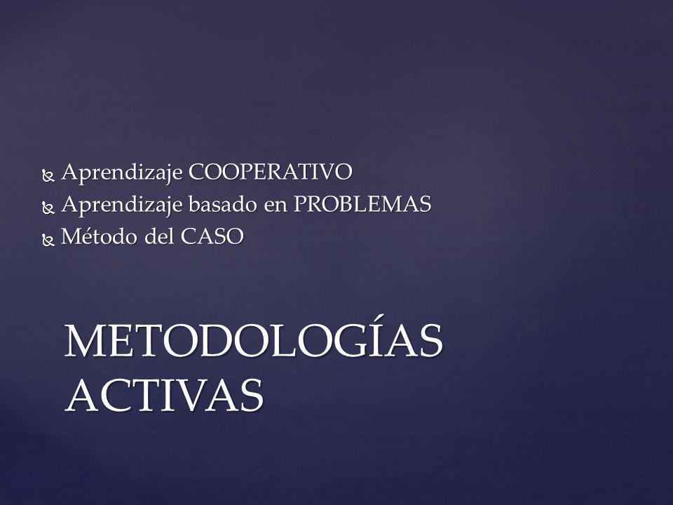 METODOLOGÍAS ACTIVAS Aprendizaje COOPERATIVO Aprendizaje COOPERATIVO Aprendizaje basado en PROBLEMAS Aprendizaje basado en PROBLEMAS Método del CASO Método del CASO