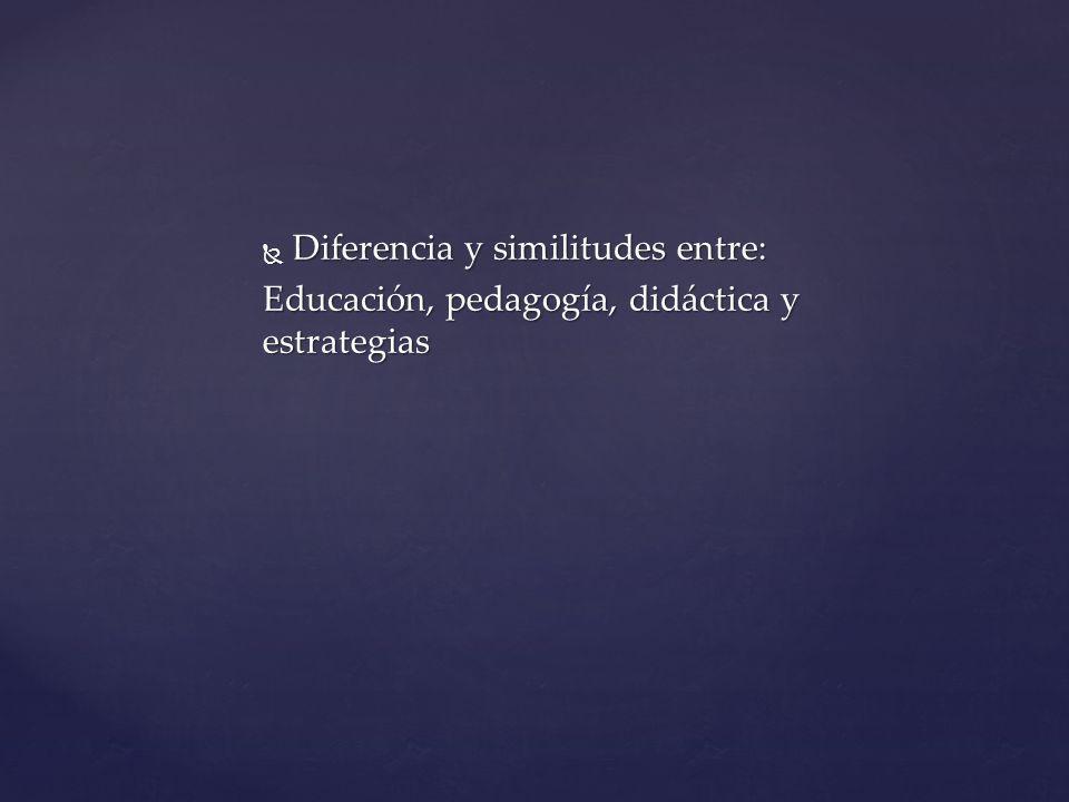 Diferencia y similitudes entre: Diferencia y similitudes entre: Educación, pedagogía, didáctica y estrategias