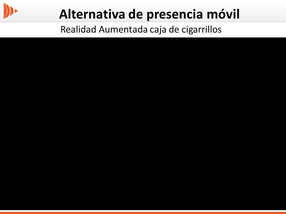 Alternativa de presencia móvil Realidad Aumentada caja de cigarrillos
