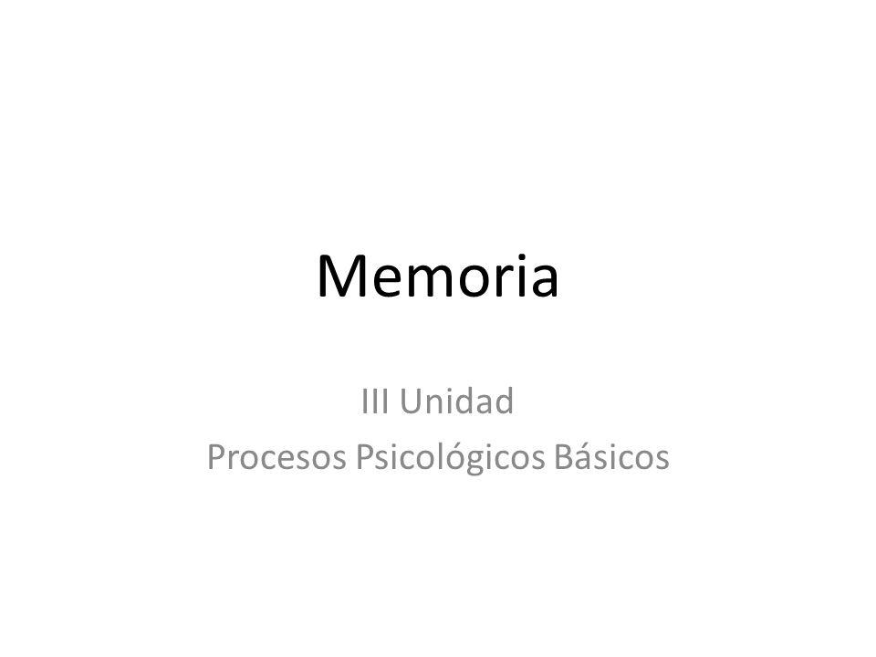 Memoria III Unidad Procesos Psicológicos Básicos