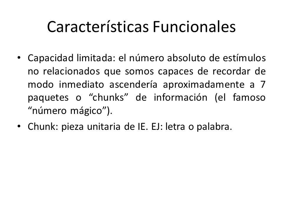 Características Funcionales Capacidad limitada: el número absoluto de estímulos no relacionados que somos capaces de recordar de modo inmediato ascend