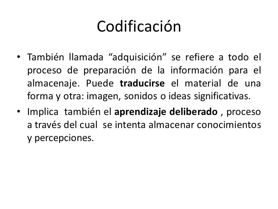 Codificación También llamada adquisición se refiere a todo el proceso de preparación de la información para el almacenaje. Puede traducirse el materia