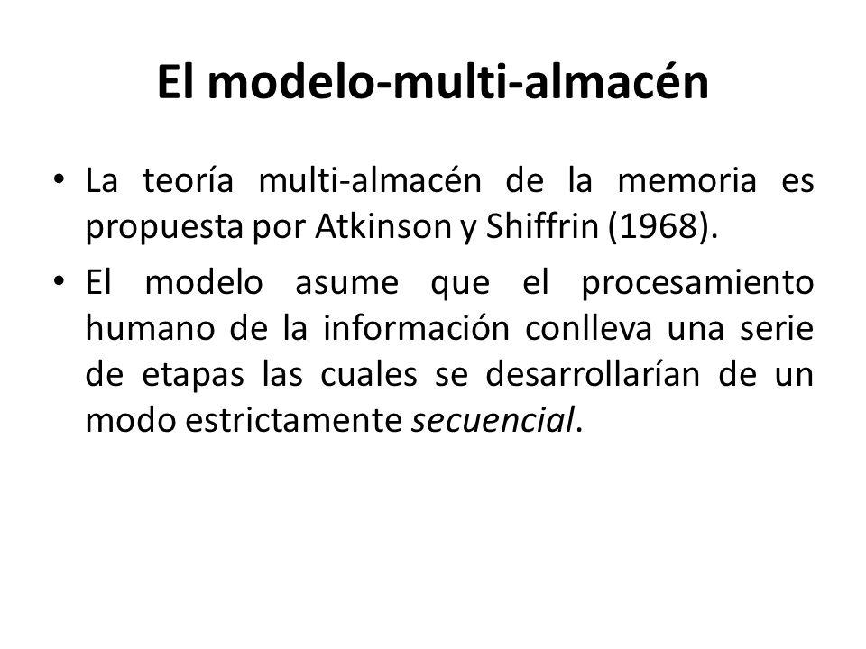 El modelo-multi-almacén La teoría multi-almacén de la memoria es propuesta por Atkinson y Shiffrin (1968). El modelo asume que el procesamiento humano
