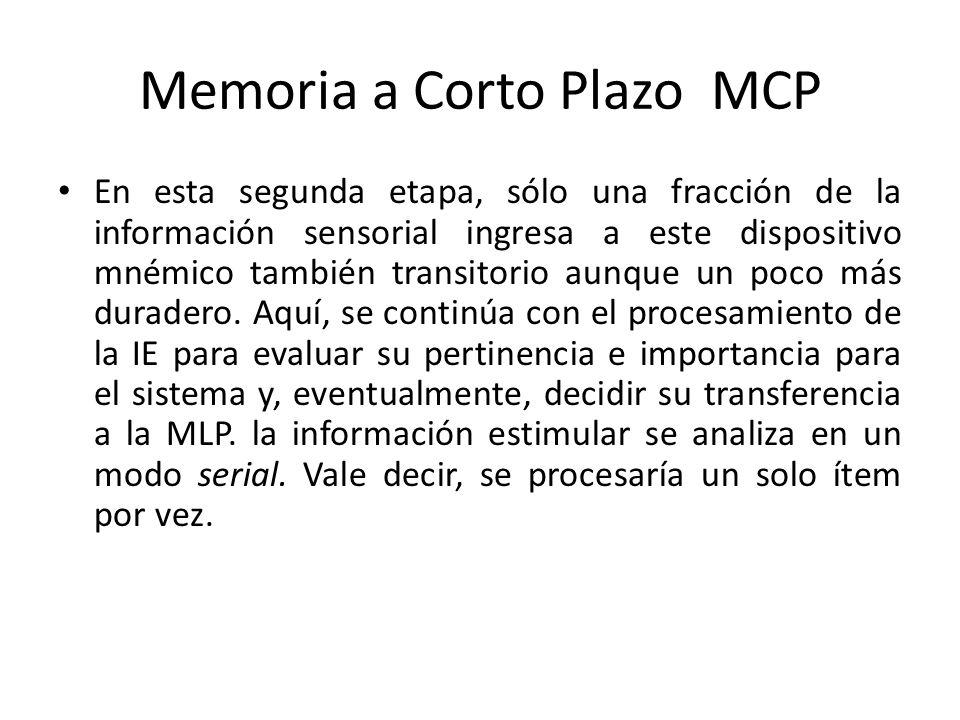 Memoria a Corto Plazo MCP En esta segunda etapa, sólo una fracción de la información sensorial ingresa a este dispositivo mnémico también transitorio