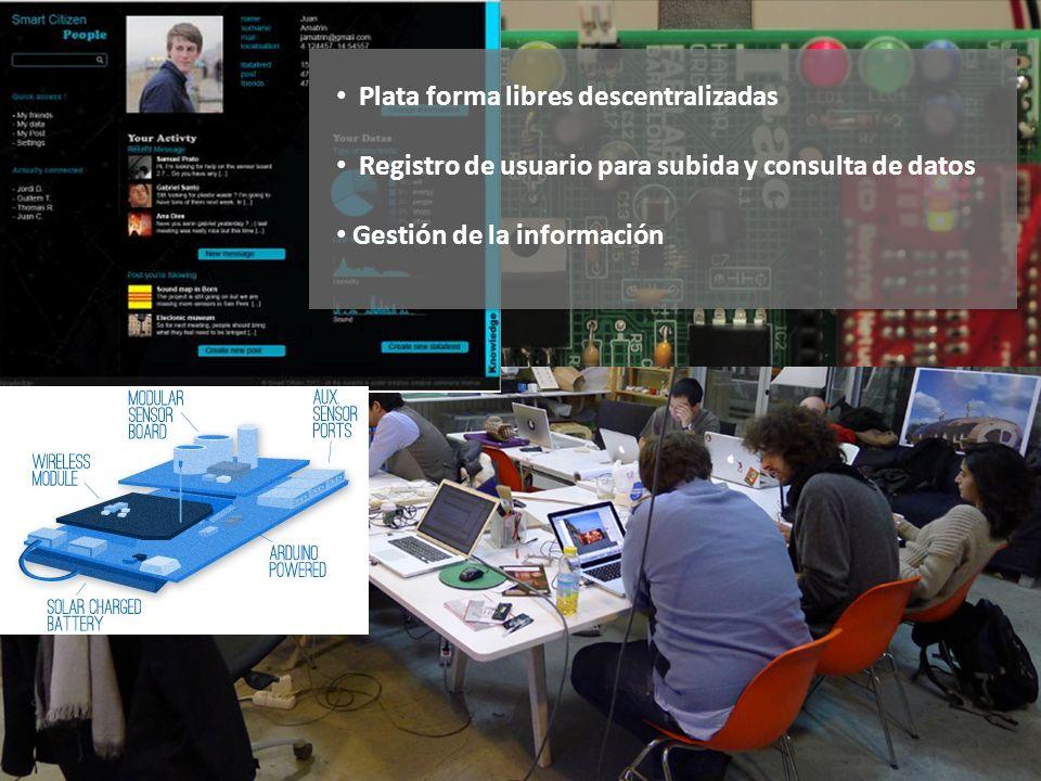 Plata forma libres descentralizadas Registro de usuario para subida y consulta de datos Gestión de la información