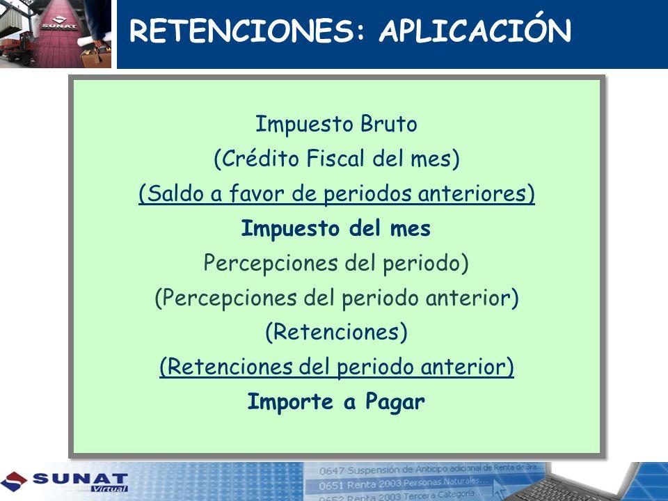 Impuesto Bruto (Crédito Fiscal del mes) (Saldo a favor de periodos anteriores) Impuesto del mes Percepciones del periodo) (Percepciones del periodo an