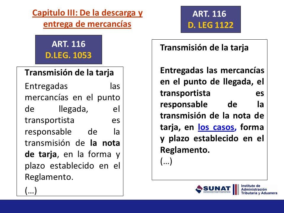 Capitulo III: De la descarga y entrega de mercancías Descarga (….) El transportista o su representante en el país deben comunicar a la autoridad aduan