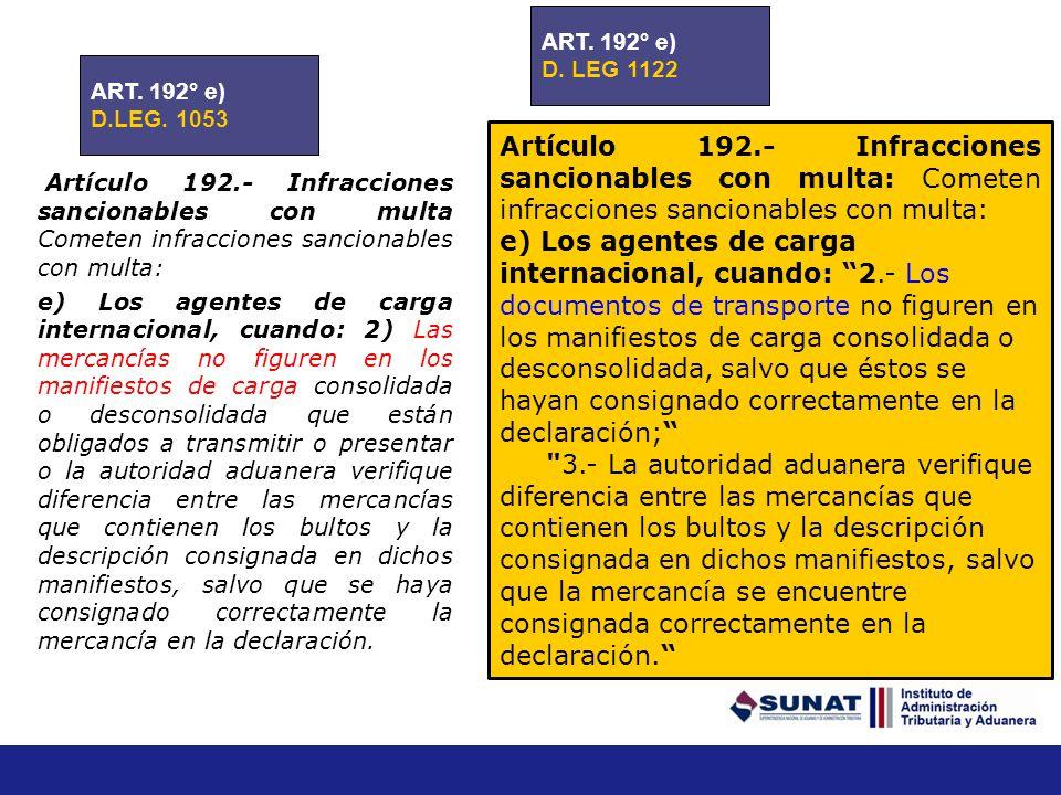 Artículo 192.- Infracciones sancionables con multa Cometen infracciones sancionables con multa: d) Los transportistas o sus representantes en el país,