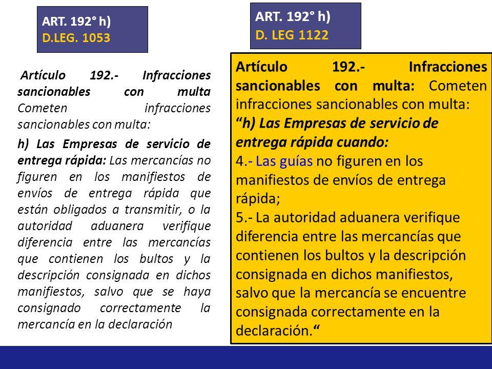 Artículo 192.- Infracciones sancionables con multa Cometen infracciones sancionables con multa: g) Las empresas de servicios postales, cuando 3.No rem
