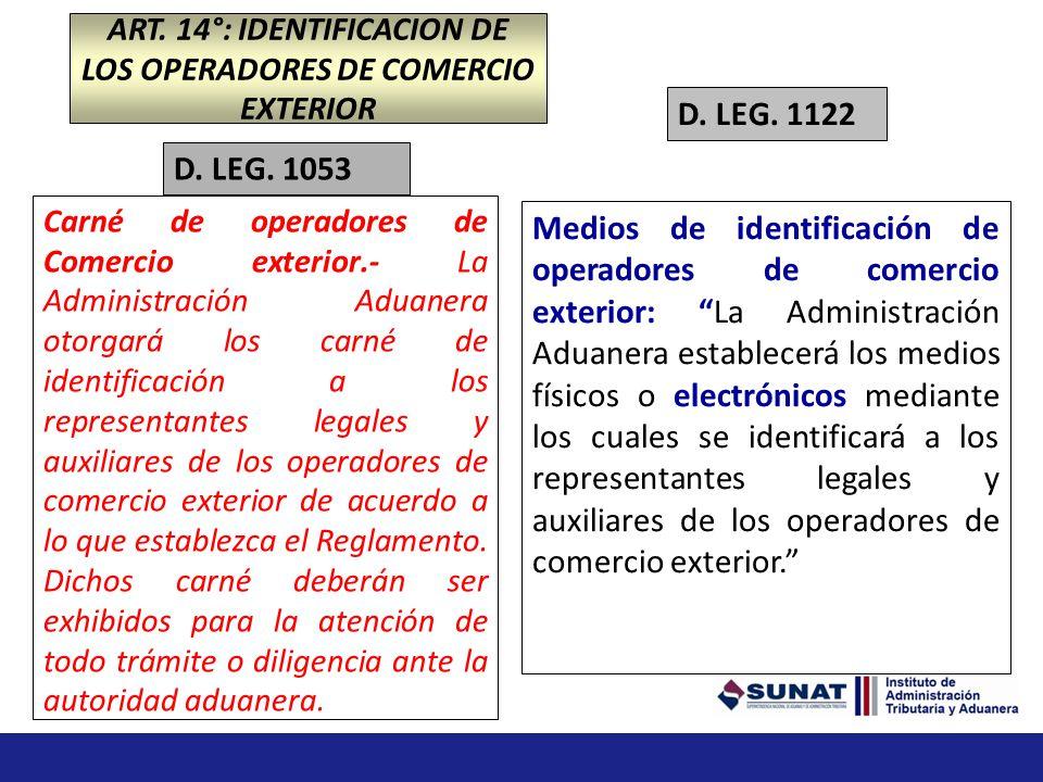 Carné de operadores de Comercio exterior.- La Administración Aduanera otorgará los carné de identificación a los representantes legales y auxiliares de los operadores de comercio exterior de acuerdo a lo que establezca el Reglamento.