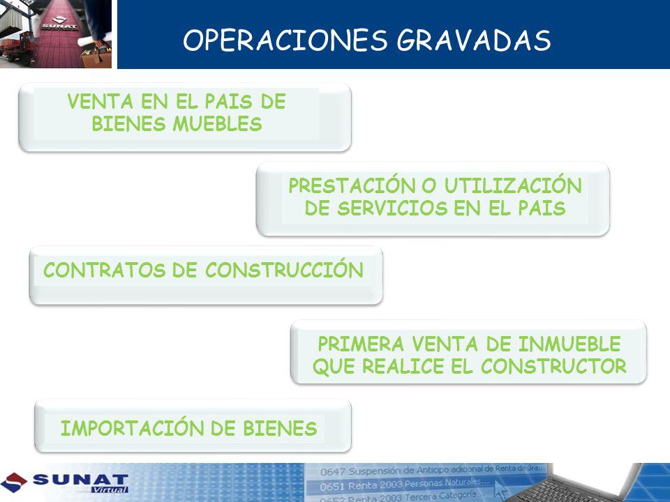 OPERACIONES GRAVADAS PRIMERA VENTA DE INMUEBLE QUE REALICE EL CONSTRUCTOR PRESTACIÓN O UTILIZACIÓN DE SERVICIOS EN EL PAIS VENTA EN EL PAIS DE BIENES MUEBLES CONTRATOS DE CONSTRUCCIÓN IMPORTACIÓN DE BIENES