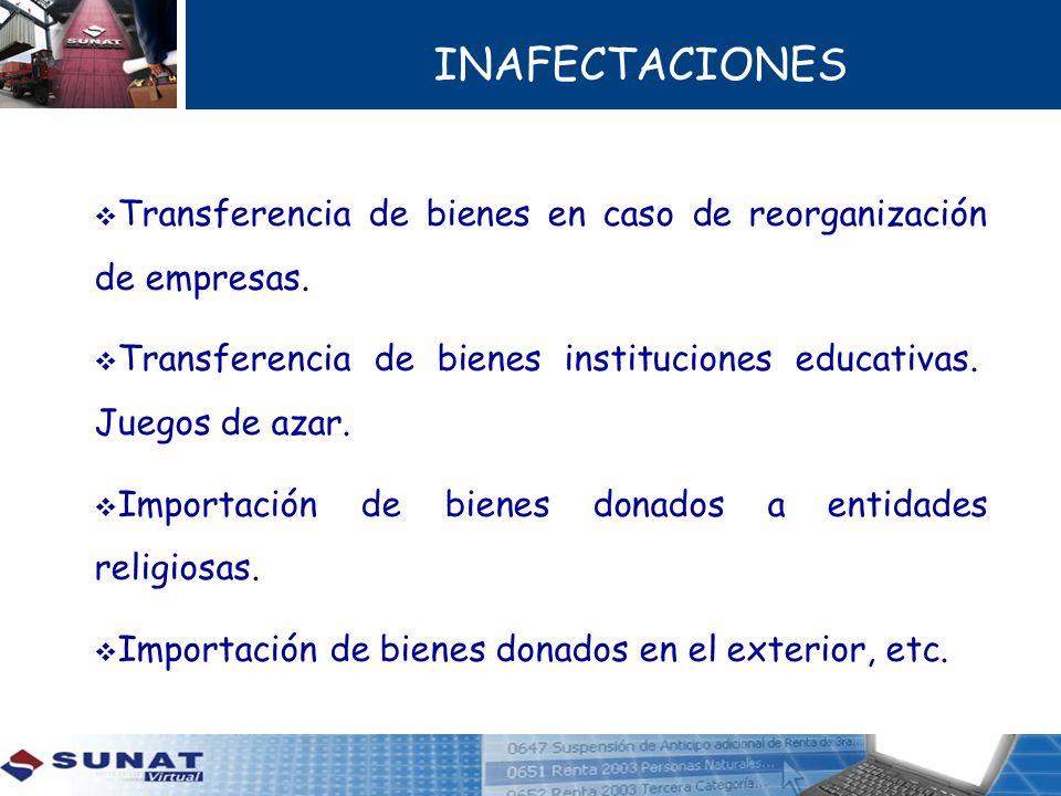 INAFECTACIONES Transferencia de bienes en caso de reorganización de empresas. Transferencia de bienes instituciones educativas. Juegos de azar. Import